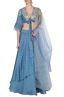 Blue Embroidered Layered Lehenga Set by Devnaagri