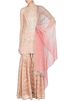 Blush Embroidered Leheriya Sharara Set by Devnaagri