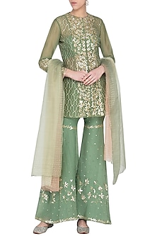 Green Embroidered Sharara Set by Devnaagri