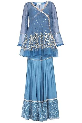Blue Embroidered Sharara Set by Devnaagri