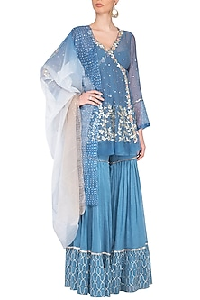 Blue Embroidered Sharara Set by Devnaagri