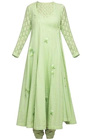 Green Embroidered Angrakha Kurta Set by Devnaagri