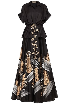 Black Embroidered Top With Skirt by Devnaagri