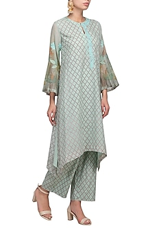 Sea Green Embroidered Printed Kurta With Pants by Devnaagri