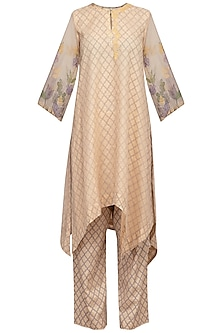 Beige Embroidered Printed Kurta With Pants by Devnaagri