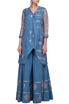 Blue Embroidered Kurta With Sharara Pants by Devnaagri
