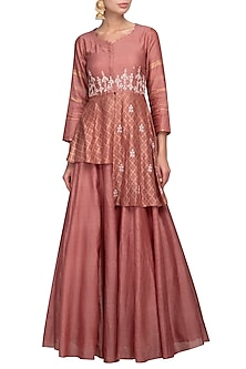 Rust Pink Embroidered Kurta With Skirt by Devnaagri