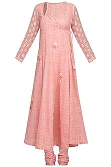Pink Embroidered Angrakha Kurta Set by Devnaagri