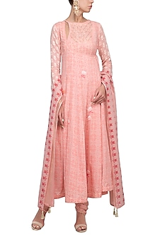 Pink Embroidered Angrakha Kurta Set by Devnaagri
