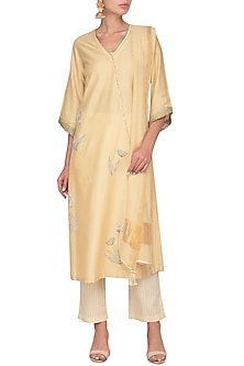 Beige Embroidered Block Printed Kurta Set by Devnaagri