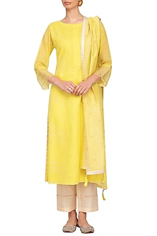 Yellow Embroidered Block Printed Kurta Set by Devnaagri