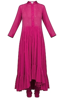 Magenta Pink Embroidered Printed Kurta Set by Devnaagri