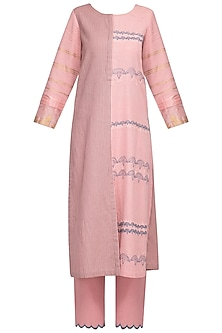 Pink Embroidered Printed A-Line Kurta Set by Devnaagri