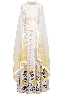 White Embroidered Printed Top With Skirt & Ombre Cape by Devnaagri