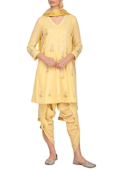 Lemon Yellow Embroidered Printed Kurta Set by Devnaagri