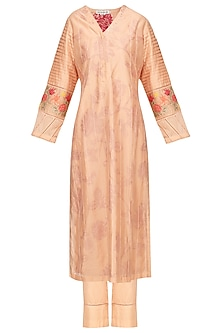 Peach Block Printed and Embroidered Kurta Set by Devnaagri