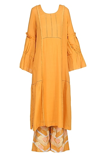 Burnt Orange Embroidered Kurta Set by Devnaagri