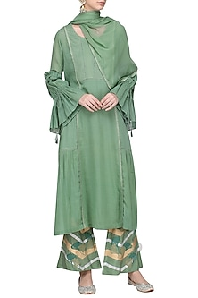 Sage Green Embroidered Kurta Set by Devnaagri