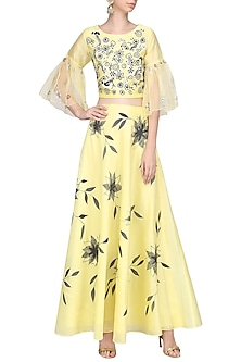 Lemon Embroidered Top with Hand Painted Lehenga Skirt by Devnaagri