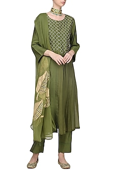 Olive Kantha Embroidered Kurta Set by Devnaagri