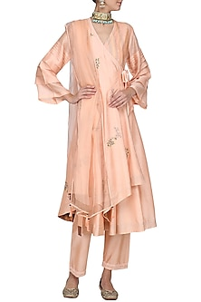 Peach Embroidered Angrakha Anarkali Set by Devnaagri