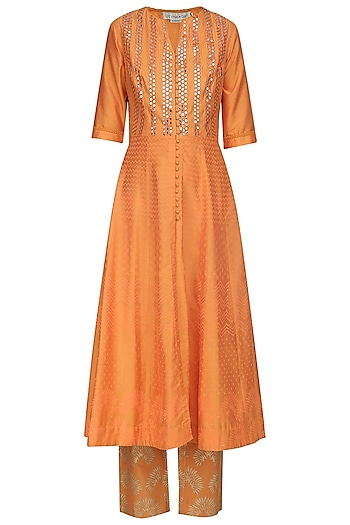 Orange Patra Embroidered Anarkali Set by Devnaagri