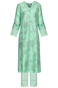 Aqua Blue Block Printed and Embroidered Kurta Set by Devnaagri