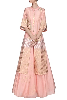Pink Embroidered Jacket with Top and Lehenga Skirt by Devnaagri