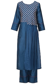 Navy Blue Kantha Embroidered Kurta Set by Devnaagri