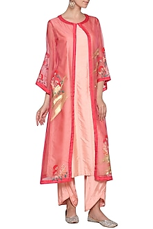 Peach Embroidered Kurta with Pants and Jacket by Devnaagri