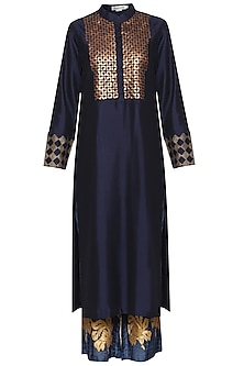 Navy Blue Embroidered Kurta Set by Devnaagri
