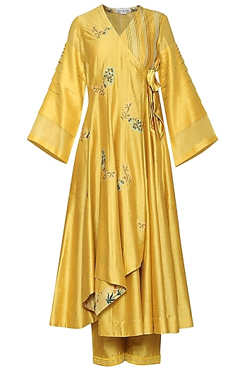 Mustard Embroidered Anarkali Set by Devnaagri