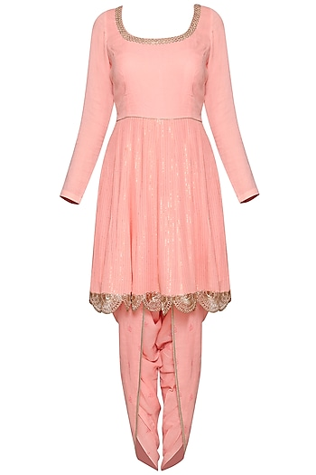 Pink Embroidered Kurta Set by Devnaagri