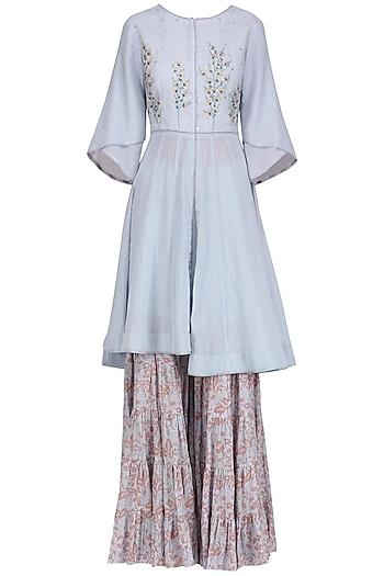 Ash Blue Embroidered Short Anarkali with Block Printed Sharara Pants Set by Devnaagri