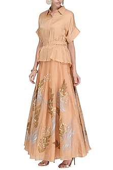 Caramel Embroidered Peplum Top with Hand Painted Lehenga Skirt by Devnaagri