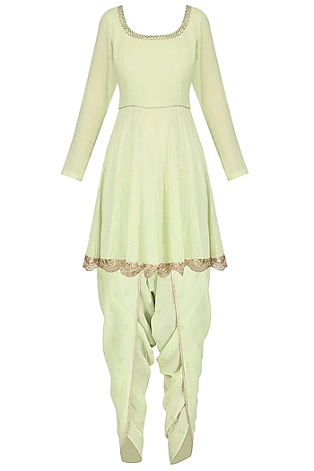 Light Green Embroidered Short Anarkali with Dhoti Pants Set by Devnaagri