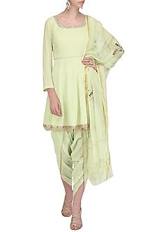 Light Green Embroidered Short Anarkali with Dhoti Pants Set by Devnaagri