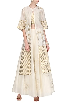 Off White and Gold Embroidered and Hand Painted Lehenga Skirt Set by Devnaagri