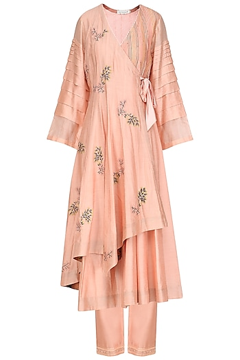 Peach Embroidered Angrakha Style Anarkali Set by Devnaagri