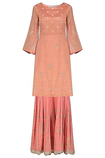 Rose Pink Embroidered and Block Printed Kurta with Gharara Pants Set by Devnaagri