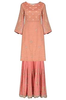 Rose Pink Embroidered and Block Printed Kurta with Gharara Pants Set by Devnaagri