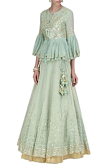 Sage Green Embroidered Lehenga with Peplum Jacket by Devnaagri