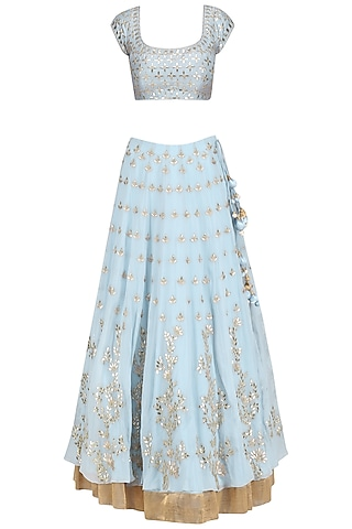 Ash Blue Embroidered Lehenga Set by Devnaagri