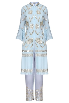 Ash Blue Embroidered Straight Kurta Set by Devnaagri