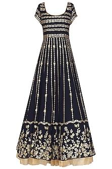 Navy Blue Embroidered Anarkali Set by Devnaagri