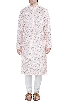 Blush Pink & Black Embroidered Kurta by Diya Rajvvir Men