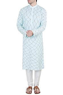 Powder Blue & Black Embroidered Kurta by Diya Rajvvir Men