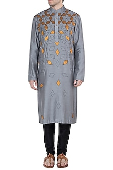 Grey Embroidered Skewed Long Kurta by Diya Rajvvir Men