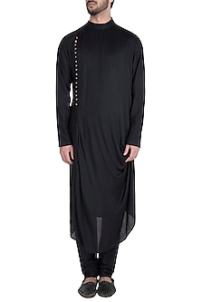Black Long Draped Kurta by Diya Rajvvir Men