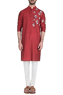 Maroon Flower Painted Kurta by Diya Rajvvir Men-BEST SELLERS
